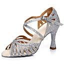 hesapli Latin Dans Ayakkabıları-Kadın's Sentetikler Latin Dans Ayakkabıları Topuklular Kıvrımlı Topuk Gümüş