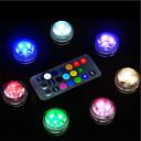 זול קישוט אורות-10 יחידות מופעל סוללה עמיד למים rgb צוללת led לילה אור מנורת לילה מנורת לילה אורות תה קערות אגרטלים אקווריום ומסיבת חתונת דקור (מכיל שלט רחוק / מכיל סוללה)