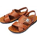 זול סנדלים לגברים-בגדי ריקוד גברים נעלי נוחות עור קיץ סנדלים נושם שחור / חום / צהוב