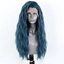 povoljno Sintetičke perike s čipkom-Prednja perika od sintetičkog čipke Wavy Stil Stražnji dio Lace Front Perika Plava Sintentička kosa 18-26 inch Žene Prilagodljiv Otporan na toplinu Party Plava Perika Dug / Da