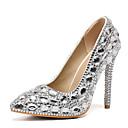 hesapli Kadın Düğün Ayakkabıları-Kadın's Düğün Ayakkabıları Stiletto Topuk Sivri Uçlu Taşlı PU Tatlı İlkbahar yaz / Sonbahar Kış Yeşil / Mor / Gümüş / Parti ve Gece