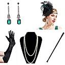 povoljno Stare svjetske nošnje-Vintage 1920s Gatsby Rukavice Traka za kosu u stilu 20-ih Žene Kostim Ogrlica Naušnica Zelen / Obala Vintage Cosplay Festival