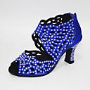 povoljno Cipele za latino plesove-Žene Plesne cipele Saten Cipele za latino plesove Kristalni detalji / Crystal / Rhinestone Štikle Kubanska potpetica Moguće personalizirati Bijela i Ljubičasta / Badem / Plava