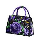 זול תיקי יד-בגדי ריקוד נשים פרח פּוֹלִיאֶסטֶר תיק עם רצועת אחיזה רקמה שחור / Wine / סגול