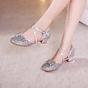 hesapli Kadın Sandaletleri-Kadın's / Genç Kız Dans Ayakkabıları Sentetikler Latin Dans Ayakkabıları / Modern Dans Ayakkabıları Payet Topuklular Kalın Topuk Altın / Pembe / Gümüş