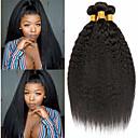 povoljno Perike s ljudskom kosom-3 paketa Brazilska kosa Kinky Ravno Ljudska kosa Ljudske kose plete Bundle kose Ekstenzije od ljudske kose 8-28 inch Prirodna boja Isprepliće ljudske kose proširenje Najbolja kvaliteta Rasprodaja