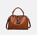 povoljno Tote torbe-Žene Patent-zatvarač PU Tote torbica Jedna barva Tamno smeđa
