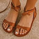 hesapli Kadın Sandaletleri-Kadın's Sandaletler Düz Taban Yuvarlak Uçlu PU Yaz Siyah / Kahverengi / Kırmzı