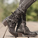 זול מגפי נשים-בגדי ריקוד נשים מגפיים עקב נמוך בוהן עגולה PU מגפונים\מגף קרסול חורף שחור / חום כהה