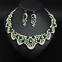 זול סטים של תכשיטים-בגדי ריקוד נשים קריסטל סטי תכשיטי כלה לְחַבֵּב פרח הצהרה צבעוני עגילים תכשיטים אדום בוהק / חום בהיר / ירוק עבור חתונה Party 1set