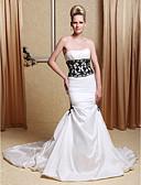 povoljno Vjenčanice-Sirena kroj Bez naramenica Dugi šlep Taft Izrađene su mjere za vjenčanja s Perlica / Aplikacije / Uštipnuti nabori po LAN TING BRIDE® / Vjenčanice u boji
