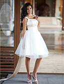 Χαμηλού Κόστους Νυφικά-Πριγκίπισσα Scoop Neck Μέχρι το γόνατο Σατέν / Τούλι Φορέματα γάμου φτιαγμένα στο μέτρο με Χάντρες / Ζώνη / Κορδέλα με LAN TING BRIDE®