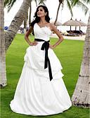 povoljno Vjenčanice-A-kroj / Princeza Na jedno rame Do poda Saten / Taft Izrađene su mjere za vjenčanja s Uštipnuti nabori / Traka / vrpca / Cvijet po LAN TING BRIDE® / Vjenčanice u boji