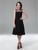 preiswerte Cocktailkleider-A-Linie / Prinzessin Illusionsausschnitt Knie-Länge Chiffon / Tüll Kleines Schwarzes Kleid Cocktailparty Kleid mit Perlenstickerei durch TS Couture®