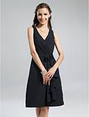 Χαμηλού Κόστους Φορέματα Παρανύμφων-Γραμμή Α Λαιμόκοψη V Μέχρι το γόνατο Σιφόν Φόρεμα Παρανύμφων με Πλαϊνό ντραπέ / Βολάν / Λουλούδι με LAN TING BRIDE®