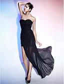 povoljno Večernje haljine-Kroj uz tijelo Srcoliki izrez Asimetričan kroj Šifon / Sa šljokicama Mala crna haljina Koktel zabava / Formalna večer Haljina s Drapirano sa strane po TS Couture®