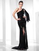 Χαμηλού Κόστους Βραδινά Φορέματα-Τρομπέτα / Γοργόνα Ένας Ώμος Ουρά Με πούλιες Φανταχτερό Επίσημο Βραδινό Φόρεμα με Χάντρες / Πούλιες / Που καλύπτει με TS Couture®