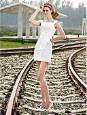 abordables Vestidos para Fiesta de Boda-Funda / Columna Escote Cuadrado Corta / Mini Satén Vestidos de novia hechos a medida con Recogido Lateral por LAN TING BRIDE®