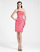 Χαμηλού Κόστους Φορέματα κοκτέιλ-Ίσια Γραμμή Στράπλες Μέχρι το γόνατο Σατέν Φόρεμα Παρανύμφων με Πλαϊνό ντραπέ με LAN TING BRIDE®