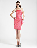 cheap Bridesmaid Dresses-Sheath / Column Strapless Knee Length Satin Bridesmaid Dress with Side Draping by LAN TING BRIDE®