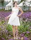 Χαμηλού Κόστους Νυφικά-Γραμμή Α Λεπτές Τιράντες Μέχρι το γόνατο Δαντέλα / Ταφτάς Φορέματα γάμου φτιαγμένα στο μέτρο με Χάντρες / Βολάν / Πλαϊνό Ντραπέ με LAN TING BRIDE® / Μικρά Άσπρα Φορέματα