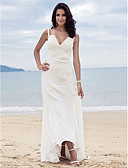 cheap Wedding Party Dresses-Sheath / Column V Neck / Spaghetti Strap Asymmetrical / Sweep / Brush Train Chiffon Made-To-Measure Wedding Dresses with Beading / Appliques / Side-Draped by LAN TING BRIDE®