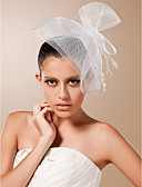 cheap Party Headpieces-One-tier Cut Edge Wedding Veil Blusher Veils Birdcage Veils 53 Feather Tulle