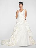 olcso Menyasszonyi ruhák-A-vonalú V-alakú Kápolna uszály Szatén Made-to-measure esküvői ruhák val vel Gyöngydíszítés / Rátétek / Hosszú szoknya által LAN TING BRIDE®