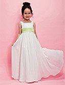 cheap Flower Girl Dresses-A-Line / Princess Floor Length Flower Girl Dress - Chiffon Sleeveless Square Neck with Draping / Sash / Ribbon by LAN TING BRIDE® / Spring / Summer / Fall / Wedding Party
