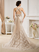 cheap Wedding Dresses-Mermaid / Trumpet Straps Sweep / Brush Train Chiffon / Lace Made-To-Measure Wedding Dresses with Bowknot / Sash / Ribbon by LAN TING