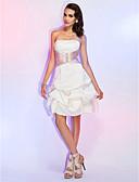 Χαμηλού Κόστους Φορέματα κοκτέιλ-Πριγκίπισσα Στράπλες Μέχρι το γόνατο Σατέν Κοκτέιλ Πάρτι Φόρεμα με Χάντρες / Ζώνη / Κορδέλα με TS Couture®