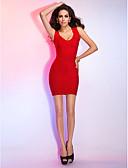 Χαμηλού Κόστους Φορέματα κοκτέιλ-Ίσια Γραμμή Λαιμόκοψη V Κοντό / Μίνι Ρεϊγιόν Κοκτέιλ Πάρτι Φόρεμα με Εφαρμοστό με TS Couture®