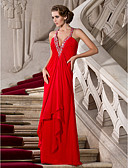 cheap Evening Dresses-A-Line Plunging Neck Floor Length Chiffon Beautiful Back / Celebrity Style Formal Evening Dress with Beading by TS Couture®