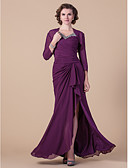 cheap Mother of the Bride Dresses-Sheath / Column V Neck Floor Length Chiffon Mother of the Bride Dress with Beading / Side Draping / Criss Cross by LAN TING BRIDE® / Wrap Included