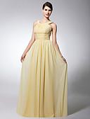 hesapli Kadın Elbiseleri-Sütun sapanlar Yere Kadar Şifon Drape Pileler Kırma Dantel ile Nedime Elbisesi tarafından LAN TING BRIDE®