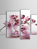 hesapli Göbek Dansı Giysileri-El-Boyalı Çiçek/Botanik herhangi Şekli Tuval Hang-Boyalı Yağlıboya Resim Ev dekorasyonu Dört Panelli