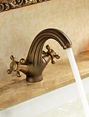 hesapli Gelin Şalları-Banyo Lavabo Bataryası - Şelale Antik Pirinç Tek Gövdeli Tek Delik / İki Kolları Tek Delik