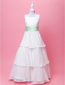 cheap Flower Girl Dresses-A-Line / Princess Floor Length Flower Girl Dress - Chiffon / Satin Sleeveless Scoop Neck with Bow(s) / Draping / Sash / Ribbon by LAN TING BRIDE® / Spring / Fall / Winter / First Communion