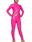 cheap Zentai Suits-Shiny Zentai Suits Skin Suit Ninja Adults' Cosplay Costumes Sex Pink Solid Colored PVC(PolyVinyl Chloride) Men's Women's Halloween / High Elasticity