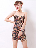 baratos Vestidos de Mulher-Mulheres Tubinho Vestido - Frente Única, Leopardo
