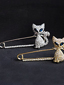 preiswerte Armband Uhr-Kristall Broschen Diamantimitate Katze Tier damas Luxus Party Freizeit Modisch Brosche Schmuck Gold Silber Für Party Besondere Anlässe Geburtstag Geschenk Alltag