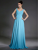 cheap Bridesmaid Dresses-A-Line V Neck / Straps Floor Length Chiffon Bridesmaid Dress with Beading / Draping / Criss Cross by LAN TING BRIDE®