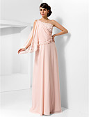 povoljno Večernje haljine-A-kroj Na jedno rame Do poda Šifon Prom / Formalna večer Haljina s Drapirano / Cvijet po TS Couture®