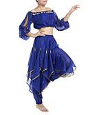 hesapli Göbek Dansı Giysileri-Göbek Dansı Kıyafetler Kadın's Şifon Boncuklama / Payet / Madeni Para 7.87inç(20cm) Doğal / Performans