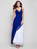 hesapli Nedime Elbiseleri-A-Şekilli / Prenses V Yaka Diz Altı Şifon Boncuklama / Yan Drape / Fırfırlı ile Resmi Akşam / Askeri Balo Elbise tarafından TS Couture® / Açık Sırtlı