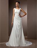 olcso Menyasszonyi ruhák-Szűk szabású Szíj Udvari uszály Sifon Made-to-measure esküvői ruhák val vel Gyöngydíszítés / Átkötős által LAN TING BRIDE® / Vintage-inspirált