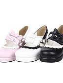 cheap Women's Blouses-Lolita Shoes Sweet Lolita Dress Handmade High Heel Shoes Bowknot 4.5 CM White Black Pink For PU Leather/Polyurethane Leather