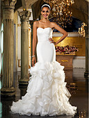 cheap Wedding Dresses-Mermaid / Trumpet Sweetheart Neckline Sweep / Brush Train Organza / Tulle Made-To-Measure Wedding Dresses with Crystal Floral Pin by LAN