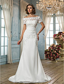 cheap Wedding Dresses-Mermaid / Trumpet Off Shoulder Sweep / Brush Train Floral Lace Made-To-Measure Wedding Dresses with Sash / Ribbon by LAN TING BRIDE®