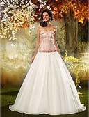 povoljno Vjenčanice-Haljina sa širokom suknjom Bez naramenica Jako kratki šlep Čipka / Organza Izrađene su mjere za vjenčanja s Cvijet po LAN TING BRIDE® / Vjenčanice u boji